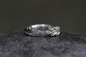 Recycled Platinum Open Leafside Ring with Ethically Sourced Diamonds, leaf side, leaf, leaves, nesting