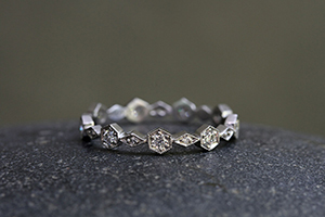 Recycled Platinum Hexagonal/Diamond Band with Ethically Sourced Diamonds, hex, hexagonal, thin, nesting, narrow, delicate