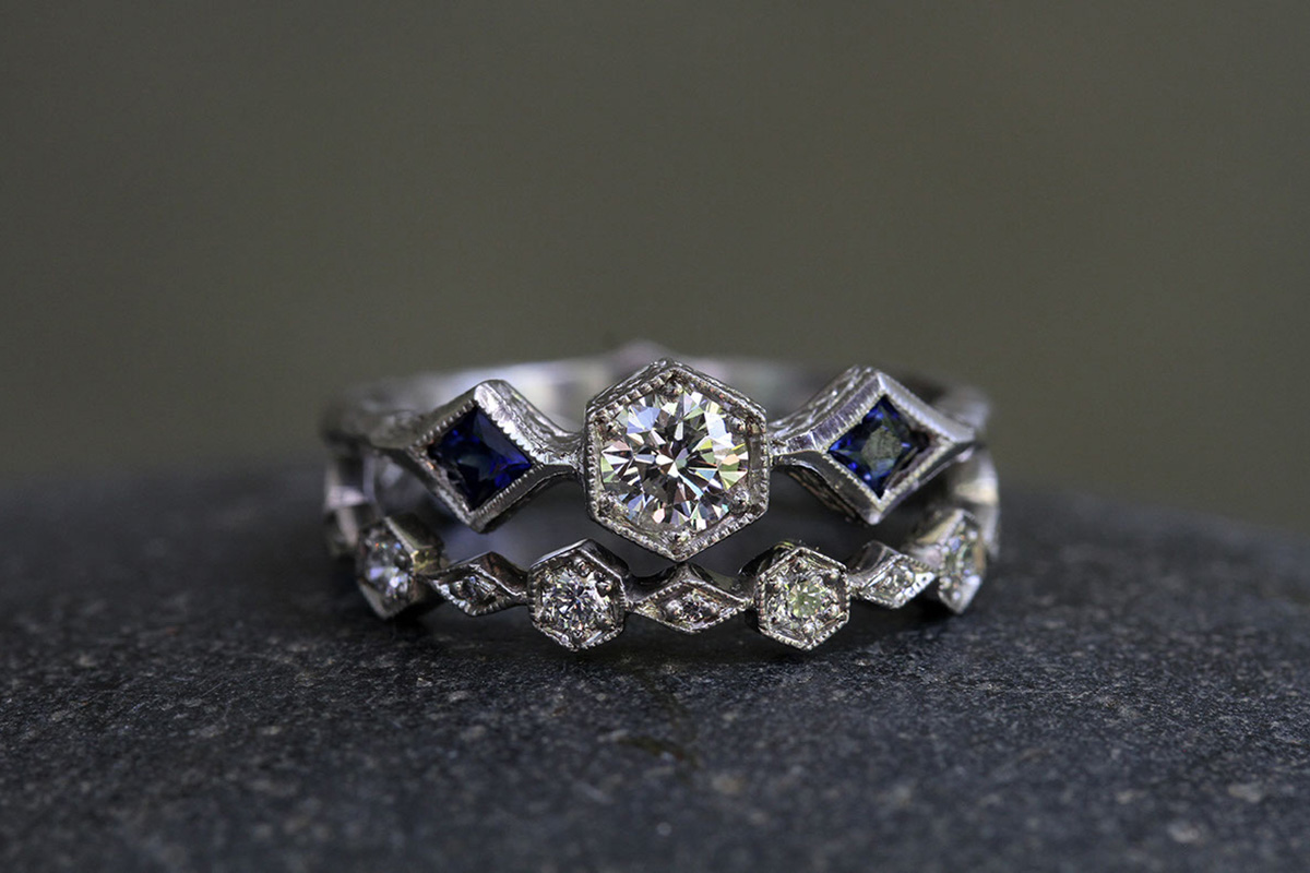 Recycled Platinum Diamond and Hex Ring with Ethically Sourced Blue Sapphires and Diamond Recycled Platinum Hexagonal/Diamond Band with Ethically Sourced Diamonds, solitaire, colored stone, wedding, engagement, nesting