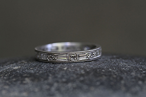 Recycled Platinum Tapered Baguette Band with Ethically Sourced Diamonds, thin, narrow