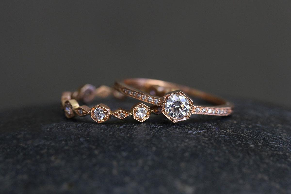 18K Recycled Rose Gold Hexagonal/Diamond Band with Ethically Sourced Diamonds, 18K Recycled Rose Gold Hexagonal Bezel Set Ring with Ethically Sourced Diamonds, solitaire, wedding, engagement, nesting