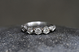 Recycled Platinum Triple Hexagonal and Diamond Shapes Ring with Ethically Sourced Diamonds, nesting