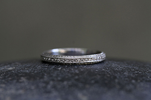 Recycled Platinum Tapered Band with Ethically Sourced Diamonds, thin, narrow, delicate