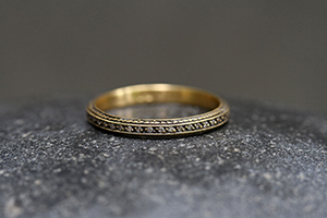 22K Recycled Blackened Gold Tapered Band with Ethically Sourced Diamonds‍, thin, narrow, delicate