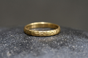 22K Recycled Gold Hammered Band, yellow