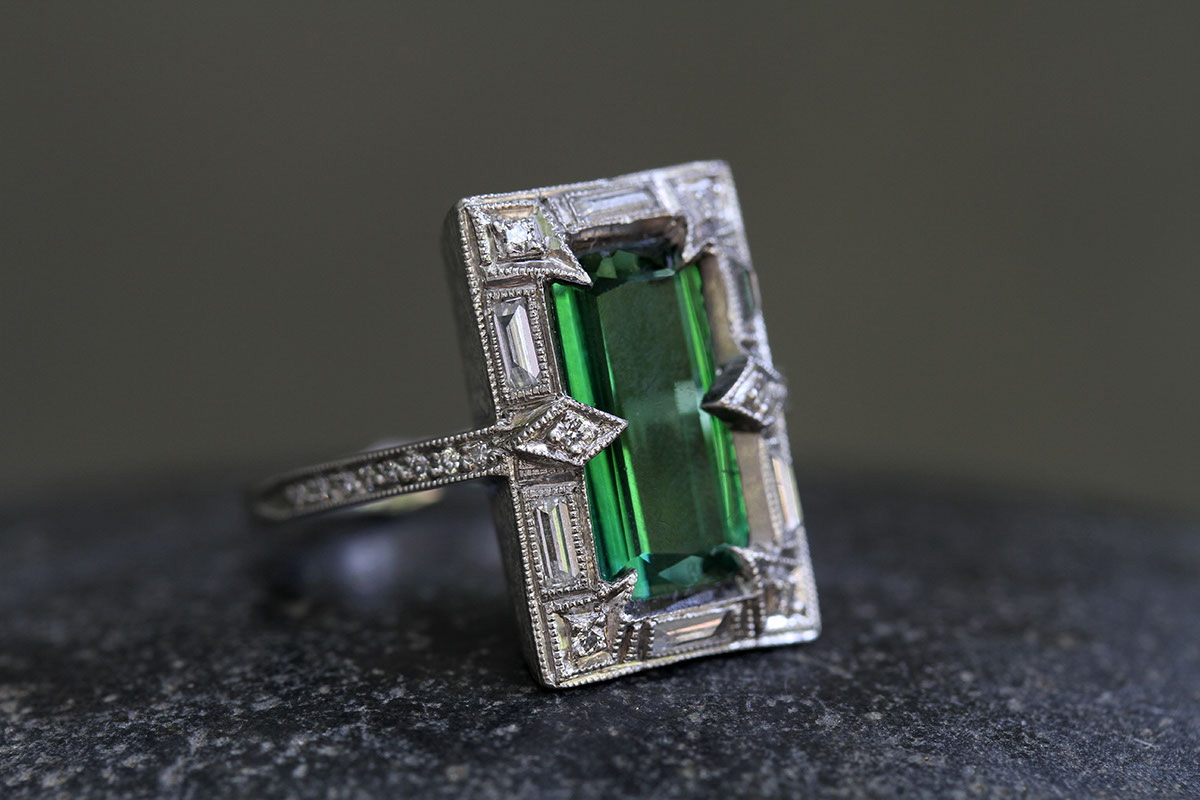 Recycled Platinum Ariel Thorn Ring with EthicallySourced Green Tourmaline and Diamonds, solitaire, colored stone, wedding, engagement, colored