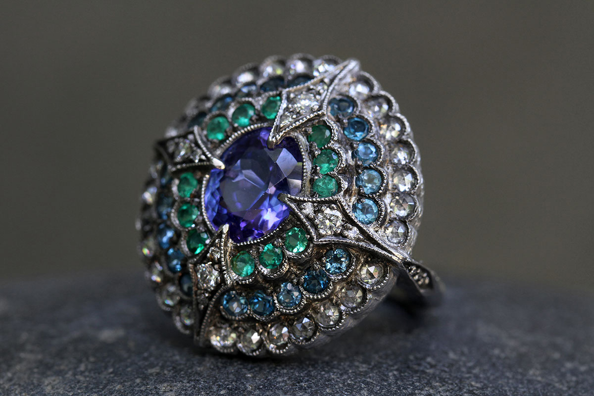 Blackened Recycled Platinum Step Ring with Ethically Sourced Rose Cut Tanzanite, Emeralds, Topaz and Diamonds, colored stone