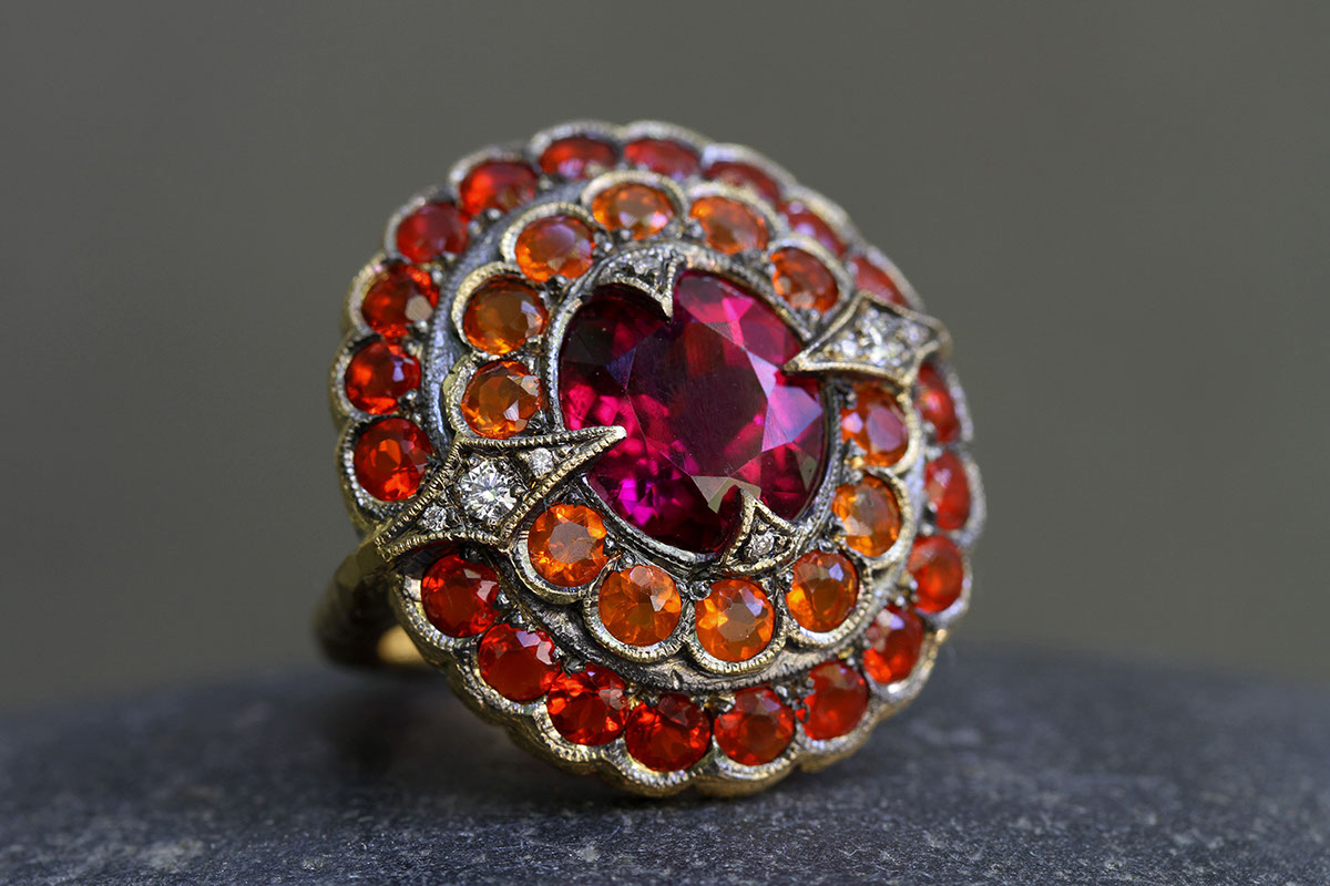 22K Recycled Blackened Gold Step Ring with Ethically Sourced Ruby, Fire Opals and Diamonds, yellow, colored stone, colored
