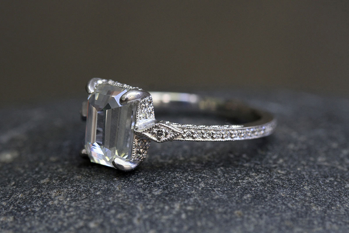 Recycled Platinum Rose Cut Solitaire Diamond Ring with Ethically Sourced Diamonds, wedding, engagement