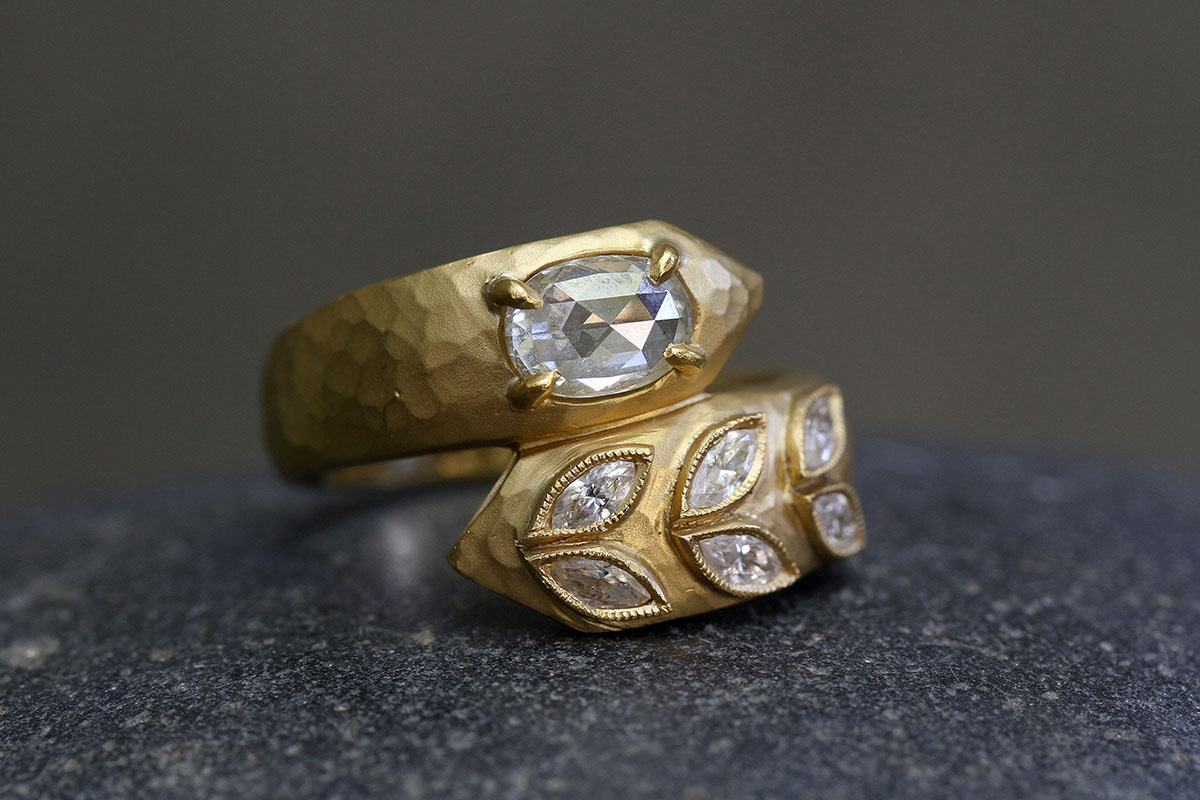 22K Recycled Gold Deconstructed Garland Ring with Ethically Sourced Diamonds, yellow, rose cut, rustic, hammered, snake, wrap