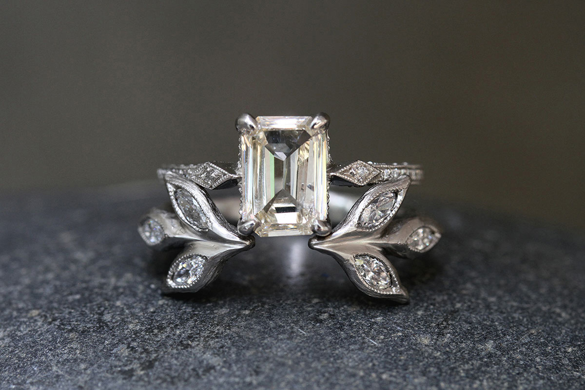Recycled Platinum Diamond Side Ring with Ethically Sourced Champagne and White Diamonds, Recycled Platinum Open Marquise Leaf Ring with Ethically Sourced Diamonds, leaf, leaf side, leaves, solitaire, wedding, engagement, nesting