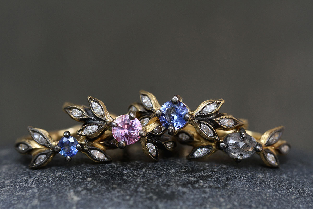22K Recycled Gold Blackened Marquise Leaf Ring with Ethically Sourced Blue Sapphire and Diamonds, 22K Recycled Gold Blackened Marquise Leaf Ring with Ethically Sourced Pink Sapphire and Diamonds, 22K Recycled Gold Blackened Marquise Leaf Ring with Ethically Sourced Rose Cut Rustic and White Diamonds, yellow, colored stone, solitaire, leaf side, leaves, wedding, engagement, colored