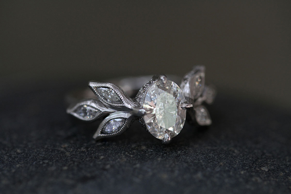 Recycled Platinum Marquise Leaf Ring with Ethically Sourced Old Euro Cut and White Diamonds, leaves, leafside, leaf side, solitaire, wedding, engagement