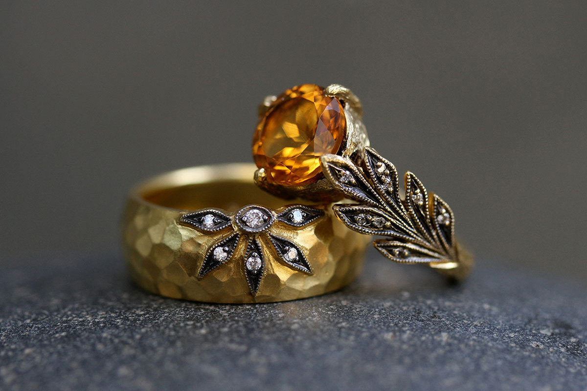 22K Recycled Gold Castle Wall Flower Overlay Band with Ethically Sourced Diamonds, 22K Recycled Blackened Gold Leafside Ring with Ethically Sourced Apricot Tourmaline and Diamonds, leaf, leaf side, leaves, yellow, colored stone, wedding, engagement, solitaire, colored, cigar