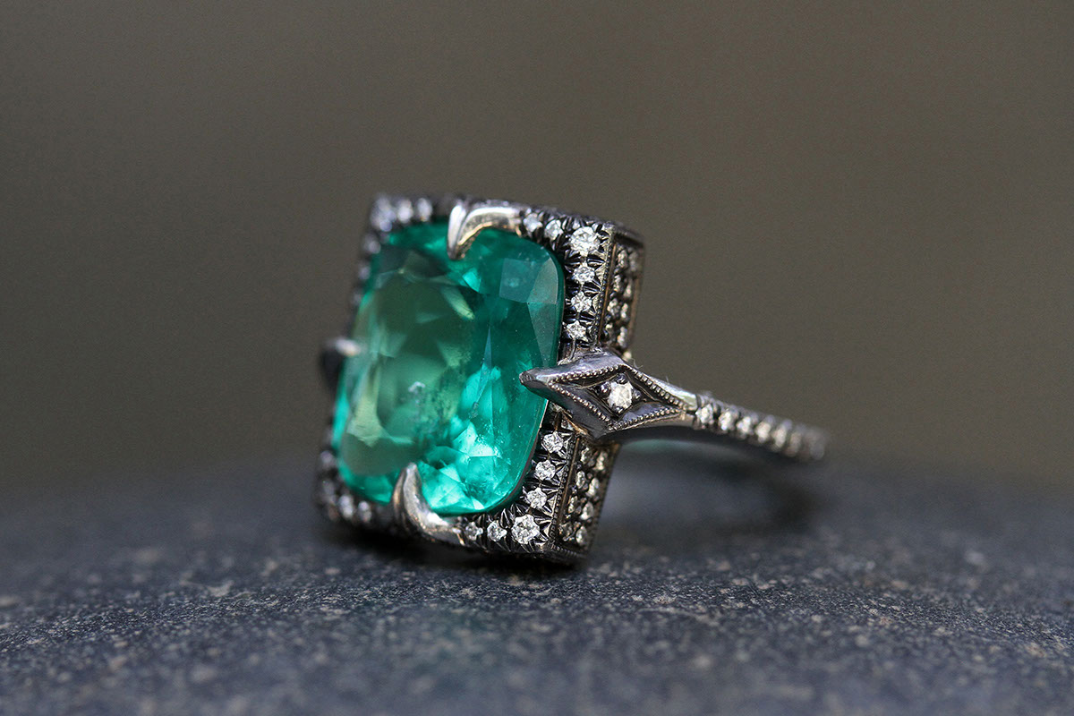 Blackened Recycled Platinum Colombian Emerald Ring with Ethically Sourced Diamonds, colored stone, solitaire, wedding, engagement