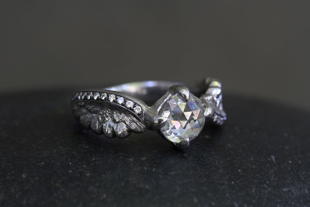 Recycled Platinum Small Winged Victory Ring with Ethically Sourced Mogul and White Diamonds, feather, solitaire, wedding, engagement