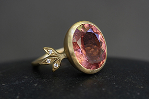 22K Recycled Gold Moderne Ring with Ethically Sourced Pink Tourmaline and Diamonds, colored stone, leaf, leaves, leafside, yellow, solitaire, wedding, engagement, leaf side, colored