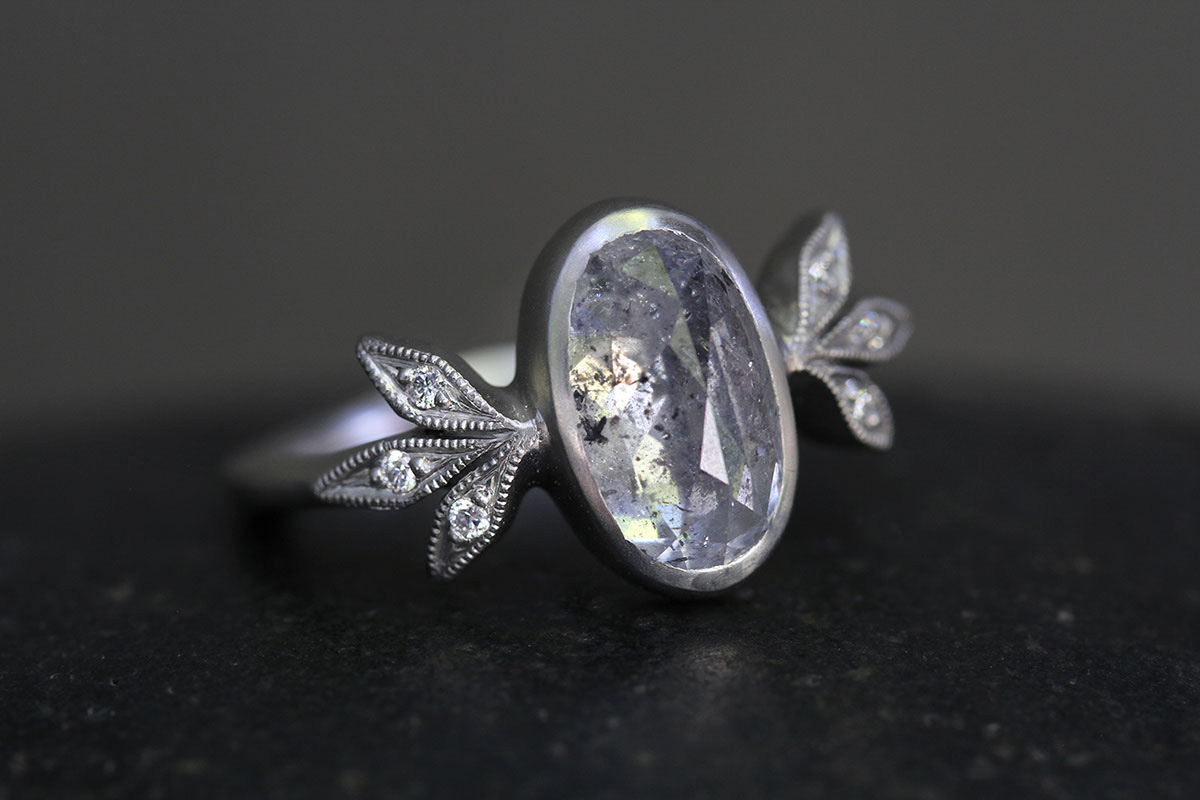 Recycled Platinum Moderne Ring with Ethically Sourced Diamonds, leaf, leafside, leaves, solitaire, wedding, engagement, leaf side