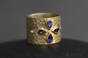 22K Recycled Gold Hammered Cigar Band with Ethically Sourced Blue Sapphires and Diamonds, yellow, colored stone, colored