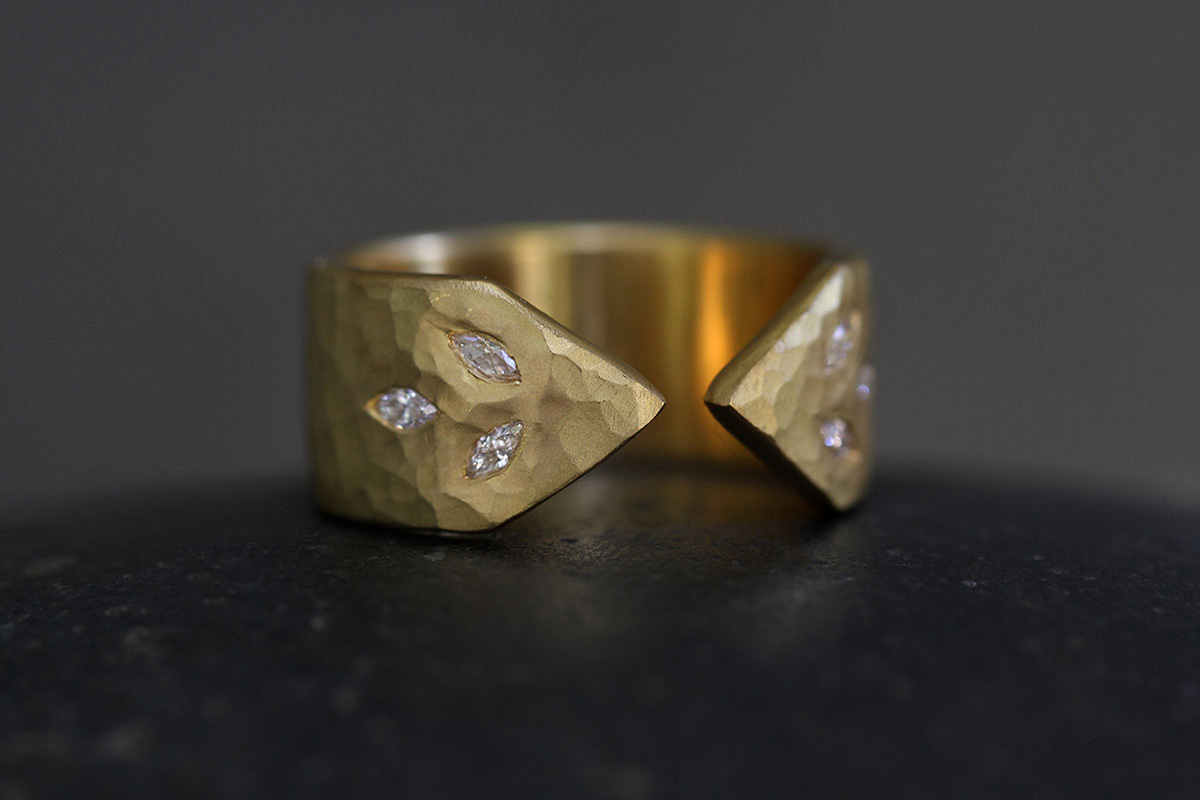 22K Recycled Gold 3 Leaf Arrow Band with Ethically Sourced Diamonds, yellow, nesting, hammered, cigar
