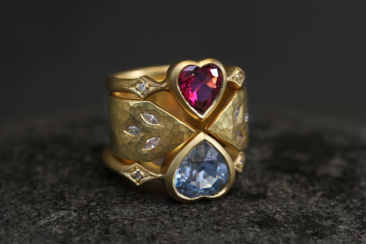 22K Recycled Gold Heart Ring with Ethically Sourced Rubellite and Diamonds, 22K Recycled Gold 3 Leaf Arrow Band with Ethically Sourced Diamonds, 22K Recycled Gold Heart Ring with Ethically Sourced Blue Sapphire and Diamonds, yellow, colored stone, hammered, nesting, colored, cigar