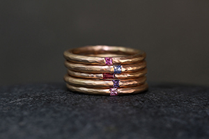 18K Recycled Rose Gold Thin Hammered Bands with Ethically Sourced Pink Sapphire, Blue Sapphire, Ruby, Purple Sapphire and Peach Sapphire, colored stone, thin, narrow, delicate, colored