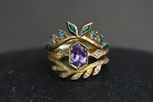 22K Recycled Gold Garland Crown Ring with Ethically Sourced Colombian Emerald, Aqua, Topaz and Diamond, 22K Recycled Gold Diamond Side Hex Ring with Ethically Sourced Purple Sapphire and Diamonds, 22K Recycled Gold Curved Wheat Ring with Ethically Sourced Diamonds, colored stone, yellow, solitaire, crown, nesting, leaf, branch, leaves, wedding, engagement, hex