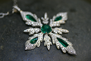 Recycled Platinum Leaf Cross with Ethically Sourced Emeralds and Diamonds on Platinum Tiny Lacy Chain, leaves, colored stone, one of a kind