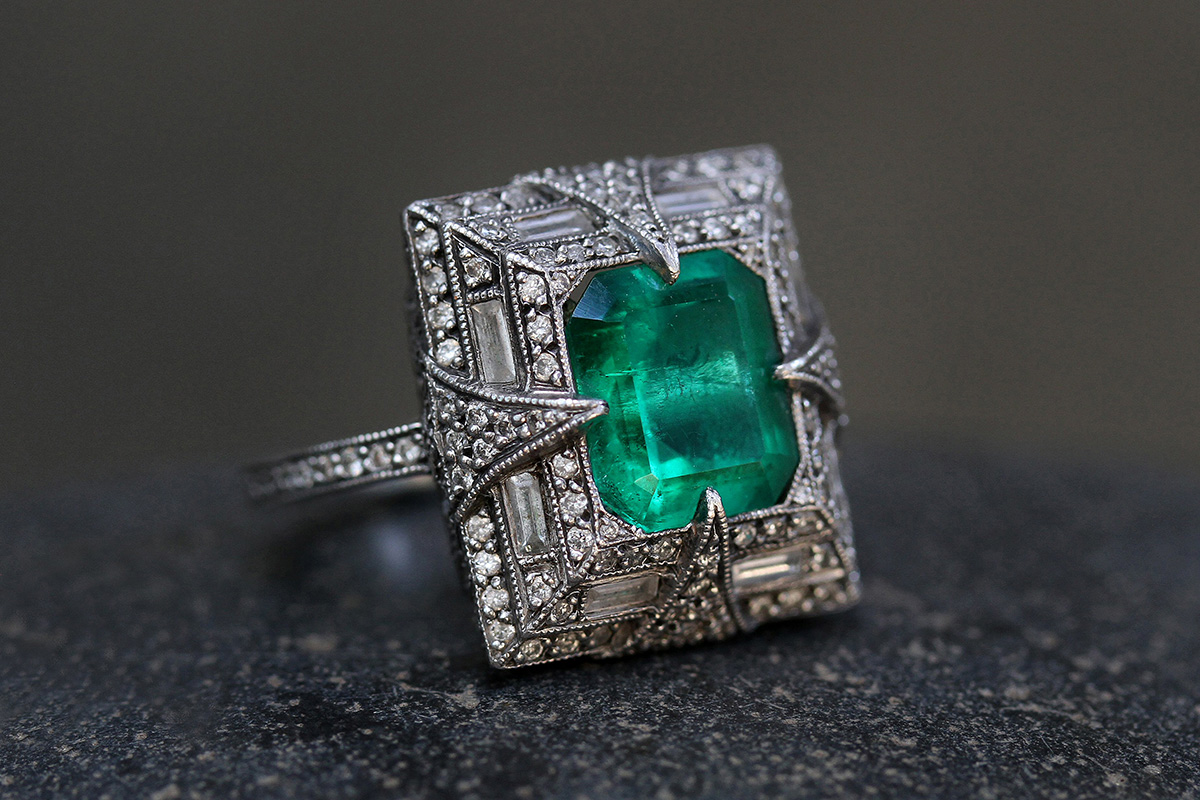 Recycled Platinum Cuppy's Engagement Ring with Ethically Sourced Emerald and Diamonds, colored stone, one of a kind, thorn, solitaire, wedding, engagement