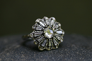 Recycled Platinum Ballerina Tutu Ring with Ethically Sourced Diamonds, solitaire, wedding, engagement, one of a kind