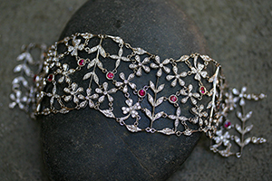 Recycled Platinum Birthday Bracelet with Ethically Sourced Rubies and Diamonds, daisy, daisies, flower, leaf, leaves, ruby, flex, link, nature, organic, colored stone, colored