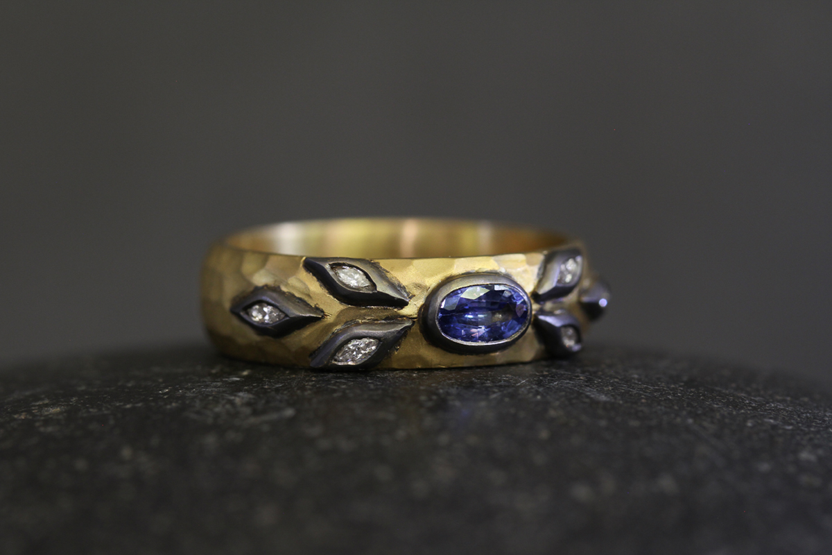 Recycled 22K Blackened Gold Marquise Leaf Band with Ethically Sourced Blue Sapphire and Diamonds, colored stone, hammered, leaves, yellow