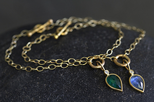 Recycled 22K Gold Charm on Loop Bracelet with Ethically Sourced Emerald and Diamond, blue sapphire, colored stone, tear, link, chain