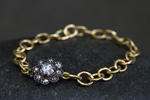 Recycled 22K Gold and Blackened Platinum Lace Edge Clasp Bracelet with Ethically Sourced Black and White Diamonds, chain, link, scalloped, rustic