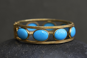 Recycled 22K Gold Sleeping Beauty Bracelet with Ethically Sourced Turquoise, colored stone, milgrain