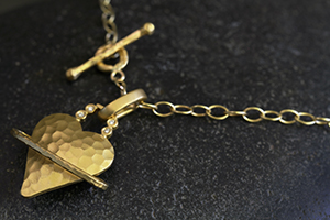 Recycled 22K Gold Heavenly Heart Charm with Ethically Sourced Diamonds on 22K Gold Tiny Lacy Chain, hammered, planet, saturn