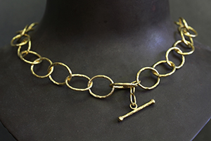 Recycled 22K Gold Oversize Lacy Chain, yellow, hammered, toggle, link