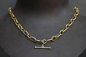 Recycled 22K Gold Branch Oval Link Chain, yellow, twig, toggle, link