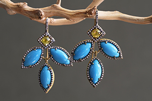 Recycled 22K Gold Marquise Frame Earrings with Ethically Sourced Turquoise and Rustic and White Diamonds, colored stone, pave, leaf, petals