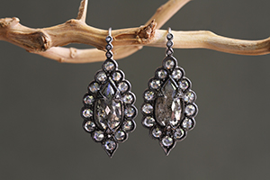 Recycled Blackened Platinum Scalloped Frame Pear Shaped Earrings with Ethically Sourced Rustic Diamonds