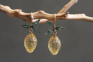 Recycled 22K Blackened Gold Lemon Earrings with Ethically Sourced Citrines and Emeralds, colored stone, fruit, leaf, leaves