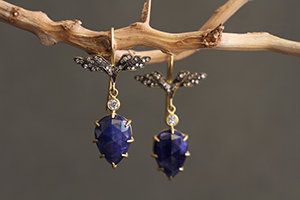 Recycled 22K Blackened Gold Wing Earrings with Ethically Sourced Blue Sapphires and Diamonds, colored stone, leaf, leaves, wings