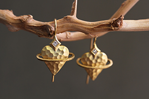 Recycled 22K Gold Heavenly Heart Earrings with Ethically Sourced Diamonds, yellow, hammered, planet, saturn