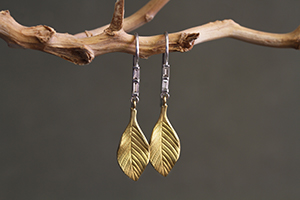 Recycled 22K Gold and Platinum Baguette Stem Leaf Earrings with Ethically Sourced Diamonds, mixed metal, leaves