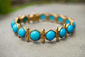 22K Recycled Gold Arrow / Hex Bezel Turquoise Bracelet, medieval, arrow, colored stone, yellow