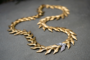 22K Recycled Gold and Platinum Flexible Wheat Necklace with Ethically Sourced Diamonds, mixed metal, leaf, leaves, inspired by nature