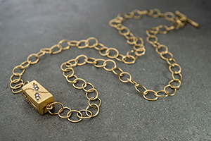 22K Recycled Gold Grow Baby Grow Necklace with Ethically Sourced Diamonds, vine, leaf, leaves, inspired by nature, yellow