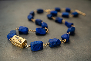 22K Recycled Gold Grow Baby Grow Lapis Wire Wrap Necklace with Ethically Sourced Diamonds, colored stone, vine, leaf, leaves, inspired by nature