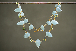 22K Recycled Gold Aqua Pear Strand with Spring Green Tourmaline Necklace, colored stone, choker, hex
