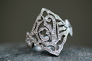 Recycled Platinum LOVE Ring with Ethically Sourced Diamonds